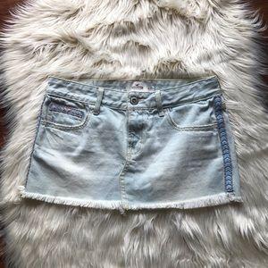 Hollister mini jean skirt light blue size 3
